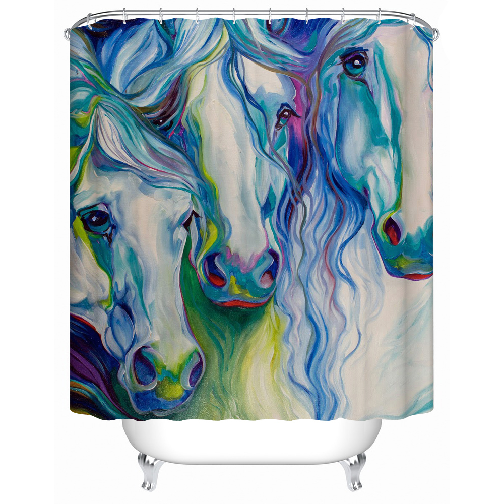 F shower curtain bathroom curtain colored horse eco friendly fabric shower curtain accept custom