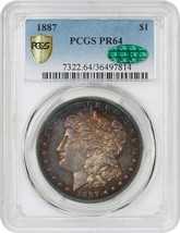 1887 $1 PCGS/CAC PR 64 - Beautiful Rainbow Toning - Morgan Silver Dollar - $4,374.70