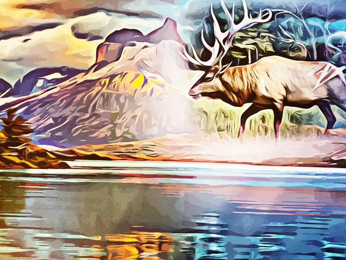 "Elk Animal Spirit abstract landscape lake original art on canvas print 20"" x 36"""