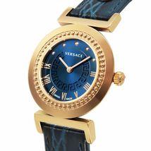 Versace Women's P5q80d282S282 Vanity Gold Ip Steel Blue Leather Wristwatch - $2,586.31
