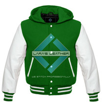 Premium Letterman Varsity Jacket with Hood & White Real Leather Sleeves ... - $84.64+