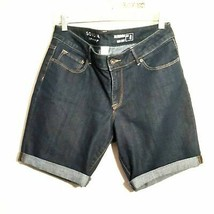 SONOMA womens bermuda shorts 8 dark blue mid rise factory rolled cuff st... - $26.99