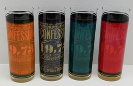 4 Vintage Confessions of 19,737 Americans Bar Drinking Glass Cup Tumbler... - $29.02
