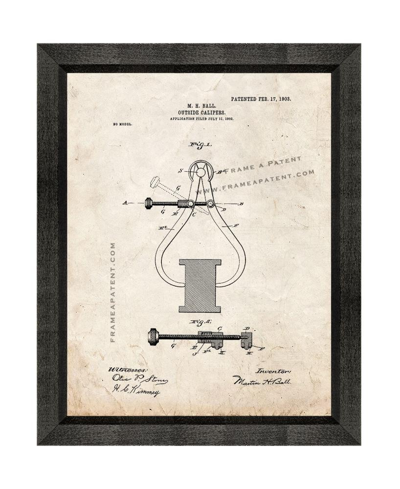Primary image for Outside Calipers Patent Print Old Look with Beveled Wood Frame