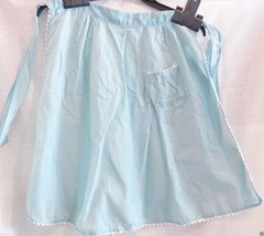 Vintage Apron, Half Hostess, Mint Green, Rick Rack, Retro, Pocket, tattered - $13.32