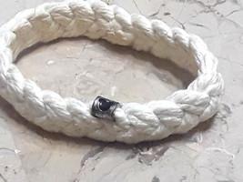 Vintage Disney Hidden Mickey Black Mouse Ears White Braided Bracelet - $25.00