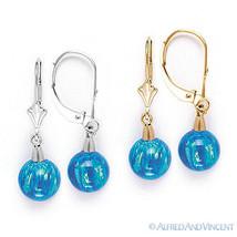 Pacific Blue Fiery Opal Gem Dangling Drop Earrings in 14k 14kt Yellow White Gold - $95.03
