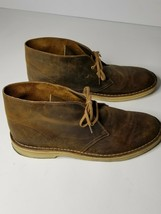 Clarks Originals Desert Chukka Boots Brown Leather Casual Shoes Comfort Mens 11M - $49.49