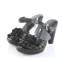 Born Black Leather Floral Heeled Sandals Slides Open Toe Buckle Womens 6 - $34.48