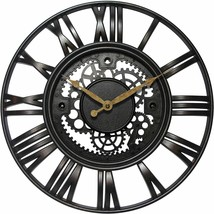 "Gears 15"" Large Brushed Oil Rubbed Bronze, Rust Wall Round Wall Clock, Q... - $34.63"