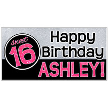 Personalized Sweet 16 Glitter Birthday Banner - $23.88