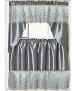 """3pc. Embroidery Curtains Set:2 Tiers(30""""x36"""")& Swag(60""""x36"""")GREY/SILVER,... - $21.77"""