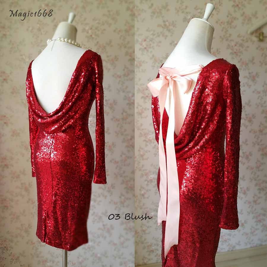 Sexy Wine Red Fitted Long Sleeve Open Back Sequin Dress Short Prom Dress