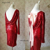 Sexy Wine Red Fitted Long Sleeve Open Back Sequin Dress Short Prom Dress image 1