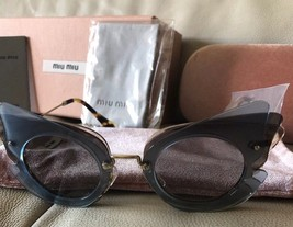Miu Miu Over Lapping Butterfly SMU 02S VA0-0A7 63#16 140 2N Azure Sunglasses New - $182.33