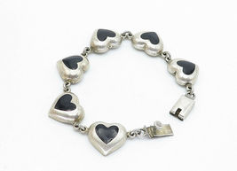 MEXICO 925 Silver - Vintage Black Onyx Love Heart Link Chain Bracelet - B5944 image 3