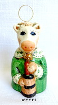 Salamander Ceramic Pottery Bell 1987 Cow with C... - $45.00