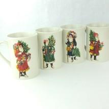 Set of 4 Enesco Santa Claus Shoppe St Nicholas 1985 Christmas Mug Coffee Cup  - $19.78