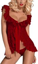 Sexy Open Front Lingerie Lace Mesh Babydoll Lingerie with G-String for Women image 10