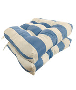 Four Seasons (Set of 2) Chair Pads Wicker Seat Cushion Patio (Blue White... - $68.88