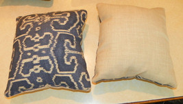 Pair of Blue Cream Flower Print Throw Pillows  10 x 10 - $29.95