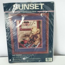 """Sunset Old Teddies Counted Cross Stitch Kit 13653 Vtg 1998 Dimensions 10""""x12"""" - $24.75"""