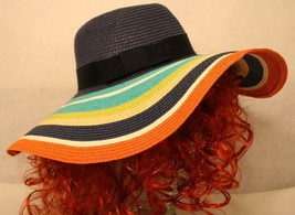 Kate Spade NY WOMEN FLOPPY Aqua Navy Orange Green Tan wide brim sun hat - $149.95