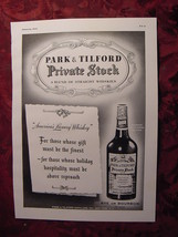1941 Esquire Original Ad PARK & TILFORD Private Stock Blend Straight Whi... - $10.00