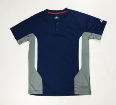Mizuno Elite 2-Button Baseball Game Jersey Men's Small Large Navy Blue 3... - $12.99