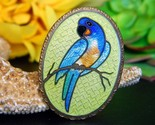 Vintage parrot macaw bird guilloche cloisonne oval brooch pin enamel thumb155 crop