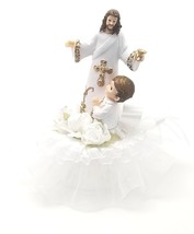 "1st communion cake top with Jesus and a boy gold trim design 7"" tall  6""... - $29.65"