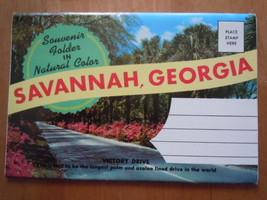 Vintage Souvenir Folder in Natural Color Savannah Georgia Postcard 14 Views - $5.99