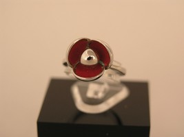 Ring Cacharel lacquer Red flower Sterling Silver 0,925 CLR327R - £30.38 GBP