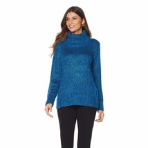 DG2 by Diane Gilman Marled Turtleneck Sweater in Medium Blue, XS - $39.59