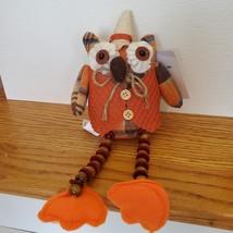 Owl Shelf Sitter, Plaid Fabric, wearing waistcoat and hat, bead legs, fall decor image 4