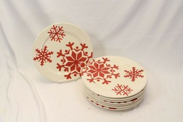 "Canterbury First Frost Red Snowflake Xmas Dinner Plates 10.75"" Lot of 8 - $74.47"