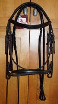 Bobby's FULL Sz Black Drop Noseband Bridle Padded Mono-Crown w/Reins - $139.95