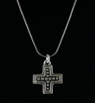 Vintage 925 Sterling Silver Addition Plus Sign Etch Cross Pendant Neckla... - $22.49