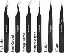 Awans Tweezers Set, Eyelash Extension Tweezers Kit for Craft, Jewellery, Electro