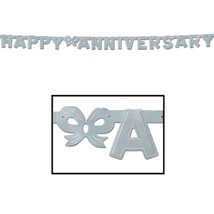 Joined Happy Anniversary Sign Banner Party Accessory 6 ft x 4 inch - silver - $3.95
