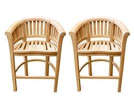 Windsor's Premium Grade A Teak Curved Arm Bar Chairs (Set of 2) 35lbs Each - $1,300.00
