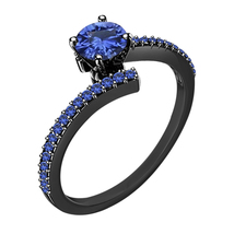Womens Simple Bypass Engagement Ring Blue Sapphire Black Finish 925 Solid Silver - £56.38 GBP