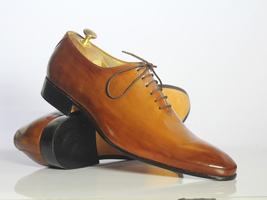 Handmade Men's Tan Leather Lace up Dress/Formal Oxford Leather Shoes image 1