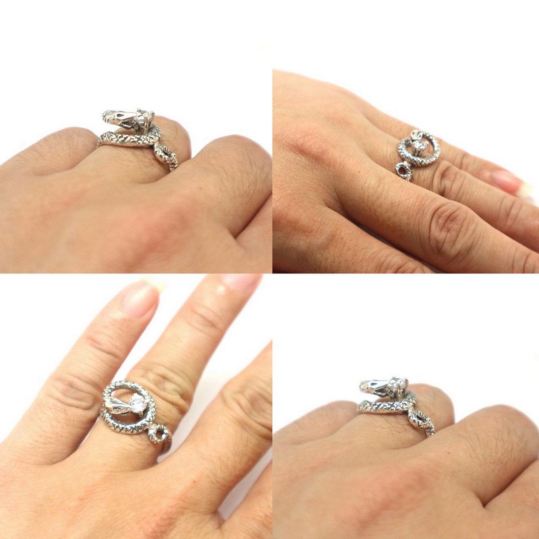 Silver Snake Biting Ring image 4