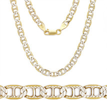 4.4mm Sterling Silver 14k Yellow Gold Marina Mariner Link Italian Chain ... - $41.32+