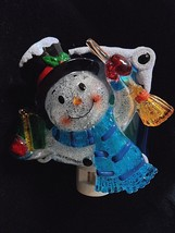 Snowman Night Light Frosty Broom Top Hat Scarf Christmas Holiday present... - $18.70