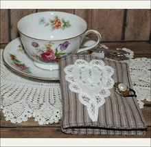 Tea Bag Wallet--White Lace Heart with Pearls - $8.00