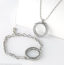 30mm Round Silver Tone Floating Charm Locket Bracelet Necklace Set Secur... - $22.76