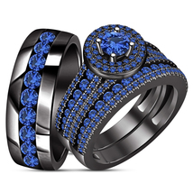 Black Gold GP Men Women His Her Sapphire Engagement Bridal Wedding Trio ... - $162.99