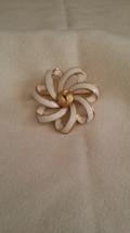 Trifari White Enamel and Gold Tone Ribbon Brooch (Pin) - $24.60